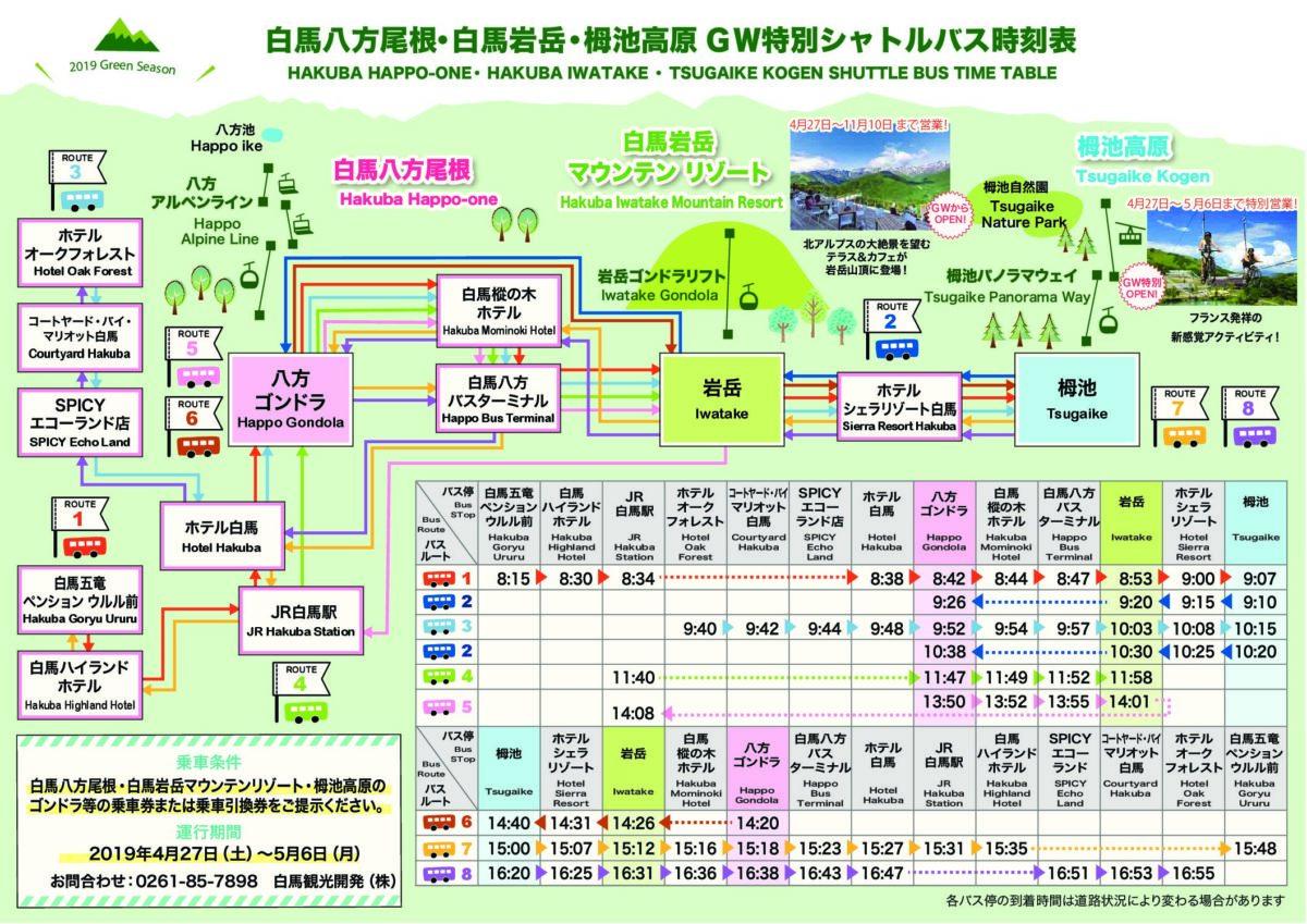 八方尾根~白馬岩岳~栂池高原のGW特別シャトルバス特別運行表について