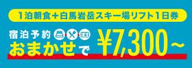 1泊朝食+白馬岩岳スキー場リフト1日券 7,300円